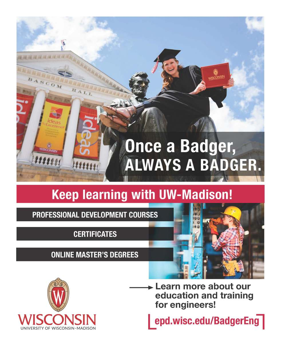 An advertisement featuring a photo of a woman sitting on Old Abe's lap on the UW-Madison campus holding her diploma.