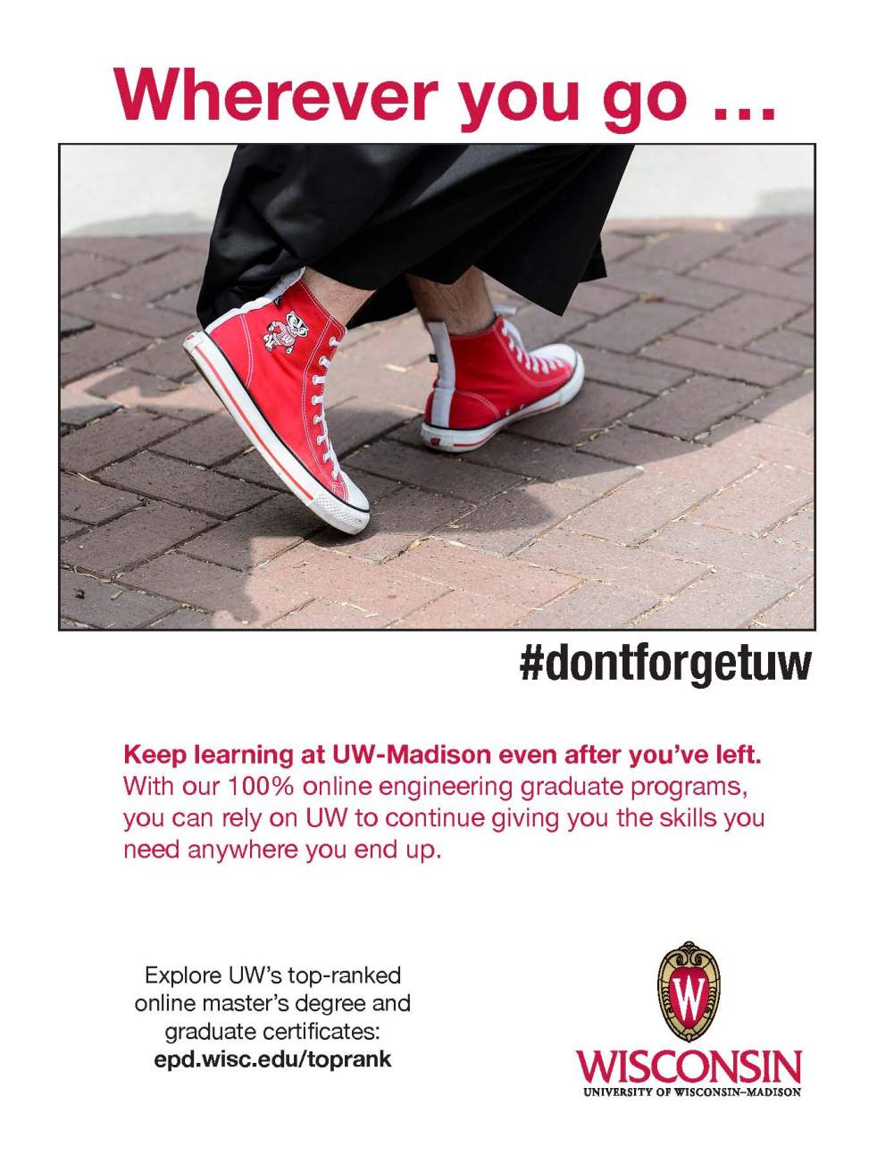 A shot of a UW-Madison graduate's red sneakers with Bucky Badger on them.